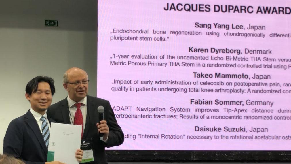 李 相亮先生が第20回ヨーロッパ整形外科学会にてbest poster賞(Jacques Duparc Award)およびbest poster presentation賞を受賞